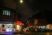 Hongkou quarter Shanghai, night market, street corner, Shops, street light, street lamp