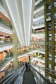 Shopping  Shanghai,New World, Yao Han, shopping mall, escalator, shops, stores, mega malls, multi storey, advertising, Werbung, consumers, fashion, design, atrium