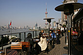 Three on the Bund,Roof terrace, view of The Bund, Pudong, New Heights