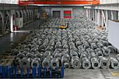 ThyssenKrupp,Stahl für China, Stahllager und Walzwerk, steel, Stahlblechrolle, hall, Lagerhalle, steel work, plant, sheet metal, rolled steel, rolling mill