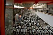 ThyssenKrupp,Stahl für China, Stahllager und Walzwerk, Kranfahrerm steel, Stahlblechrolle, hall, Lagerhalle, steel work, plant, sheet metal, crane driver, operator, rolled steel, rolling mill