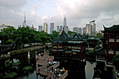 Huxinting Teahouse, Yu Yuan Garden, Skyline Shanghai, Yu Yuan Garden, Nanshi, Feng Shui, Mid Lake Pavilion Teahouse, twisting bridge, Bridge of nine turnings, window, view, TV tower, Jinmao