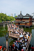 Huxinting Teahouse, Yu Yuan Garden,Teehaus am Yu Garden, Gartenkunst, classical Garden of Joy, Yu Yuan Garden, Nanshi,  Zickzack Brücke, Feng Shui, Mid Lake Pavilion Teahouse, twisting bridge, Bridge of nine turnings, window, Fenster, Durchblick, view