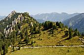 Idyllic mountain scenery in the sunlight, Upper Bavaria, Germany