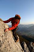 Climber moving up on Schober Mountain, Salzburger Land, Austria