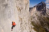 Kletterer am Silbergeier 8b+, Raetikon, Schweiz
