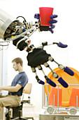 Humanoid robot, ARMAR, Fluid Hand, Test run for robot control, Loading the dishwasher, Robot Kitchen, Dipl Phys Kristian Regenstein, Institute für Rechnerentwurf und Fehlertoleranz at Karlsruhe University, 2004