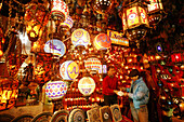 """Salesman for colourful lamps in the indoor market """"kapali"""",Istanbul, Turkey"""