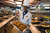 Windjammer Cafe Chef with Fried Chicken,Freedom of the Seas Cruise Ship, Royal Caribbean International Cruise Line