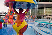 Colorful Water Fountains in H2O Zone Pool Area on Deck 11,Freedom of the Seas Cruise Ship, Royal Caribbean International Cruise Line