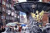 Dluga street and the Neptun Fountain, Gdansk, Danzig, Poland