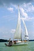 Sailing on Sniardwy Lake, Mazurian Lake District, Poland