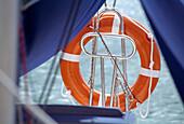 Lifebelt - detail of ship, marina, Mazurian Lake District, Poland