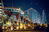 Roller Coaster at Blackpool Amusement Park, illuminated at night, Lancashire, England