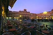 Bars and cafes on Plaza Mayor in the evening light, Salamanca, Castilla-Leon, Spain