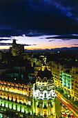 Gran Via and Edificio Metropolis,taken from the roof of the Circulo de Bellas Artes,Madrid,Spain
