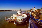 Excursion boat on Rhine river, Düsseldorf, Northrhine-Westfalia, Germany