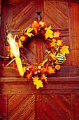 Wreath on a Wooden Door in Riquewihr,Elsass,France
