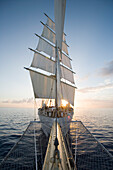 Star Clipper at Sunset, View from the Bowsprit, Caribbean Sea