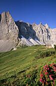 Alpine hut Falkenhuette with Laliderer Mountain Range in spring, Karwendel Range, Tyrol, Austria