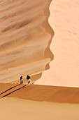 Young couple moving up Big Daddy. one of the earth highest dunes, Sossusvlei. Namib desert. Namibia. Africa