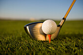 Golf club and golf ball, close-up