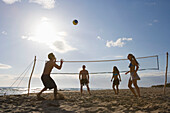 Young people playing beach volleyball, Apulia, Italy