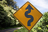 Curvy Road Sign,Road to Hana, Maui, Hawaii