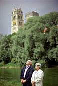 Old couple watching solar eclipse, Munich, Bavaria, Germany