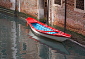 Colourful boat on a Canal, Venice, Italy
