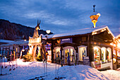 Sport Stangl and the Hofstadl, the first Apres-Ski Bar of Flachau, in the evening, Flachau (927 m), Salzburger Land, Austria