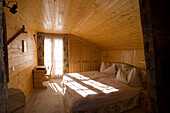 """View inside the rustic double bedroom """"Dom"""" of the Hotel and Restaurant Hohnegg, Saas-Fee, Valais, Switzerland"""