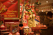 Christmassy decorated shop window of Reber, a shop, where you can buy Mozartkugeln, Old Market, Salzburg, Salzburg, Austria