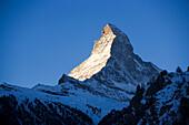 View from Zermatt to the Matterhorn (4478 metres), Zermatt, Valais, Switzerland