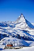 The Matterhorn and mountain railway lines, Zermatt, Valais, Switzerland