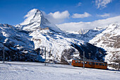 Gornergrat Bahn passing Matterhorn (4478 m), Zermatt, Valais, Switzerland
