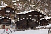 Traditional wooden houses, Zum See, Zermatt, Valais, Switzerland