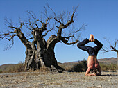 Mann in Yoga Stellung, Yoga, Andalusien, Spanien, MR