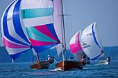 Sailing regatta, large dinghy sailing, Chiemsee Lake, Bavaria, Germany