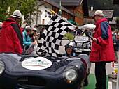 Silvretta Classic Rallye Montafon, 10.07.2004 , at the finishing line in Partenen , Jaguar D-Type, 307PS, Bj.1955