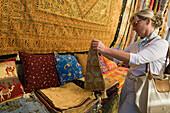 Woman in the handicrafts shop, Antalya Old Town, Antalya, Turkey