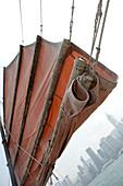 Traditional Junk Sail & Skyline,Hong Kong Harbour, Hong Kong