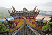 Pavilion Roof & MV Victoria Queen,Victoria Cruises, Yangtze River, Shibaozhai, China