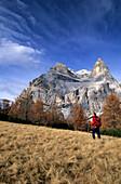 Hiker on an alpine pasture in front of Monte Pelmo, Pelmo range, Dolomites, Venezia, Italy