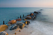 Leavings of a jetty, coastline of Baltic Sea, Schleswig-Holstein, Germany