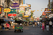 View along Th Khao San Road, Banglamphu, Bangkok, Thailand