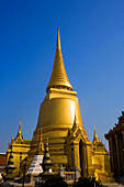 Phra Sri Rattana Chedi on the ground of the Wat Phra Kaew, the most important Buddhist temple of Thailand, Ko Ratanakosin, Bangkok, Thailand
