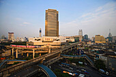View over Siam Square with Skytrain, Siam Discovery Center and Siam Paragon Shopping Mall, Pathum Wan district, Bangkok, Thailand