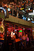 A view of Patpong, a red light and entertainment district, at night, Bang Rak district, Bangkok, Thailand