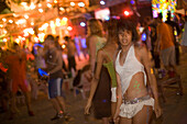 Young woman with body painting at a Full Moon Party, Hat Rin Nok, Sunrise Beach, Ko Pha-Ngan, Thailand